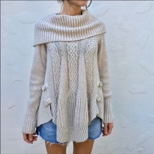 Anthro Angel of the North Cabled Boucle Sweater
